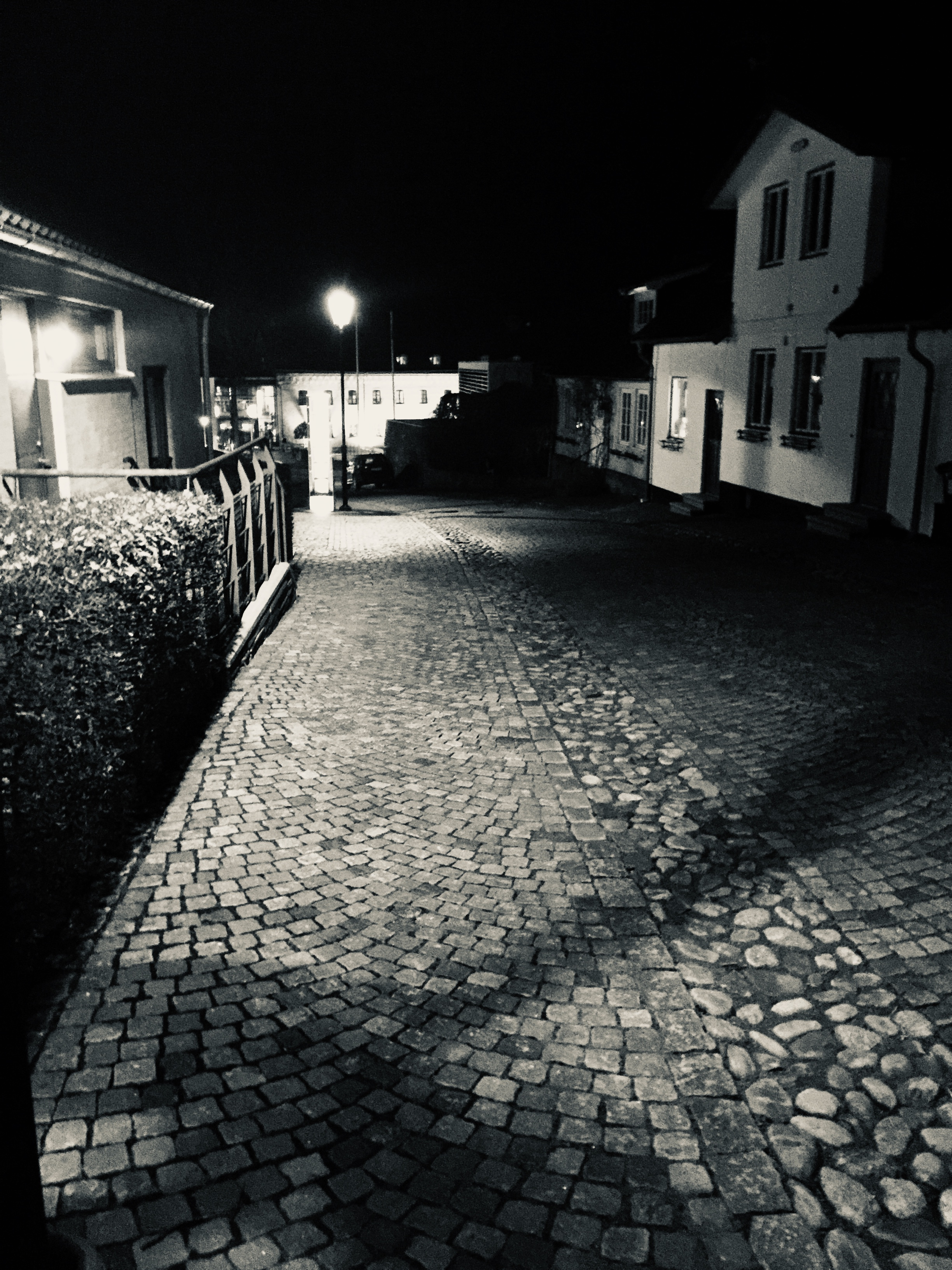 Black and White photo of Båstad Sweden after dark