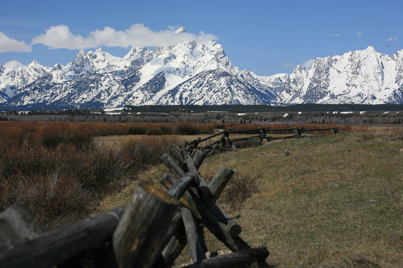 a view of the snow covered Tetons