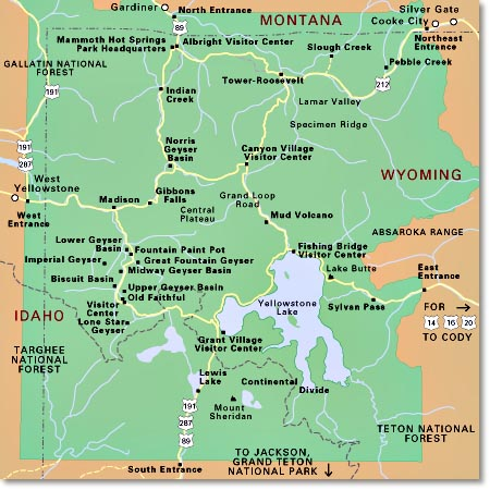 Map of the 5 Yellowstone entrances