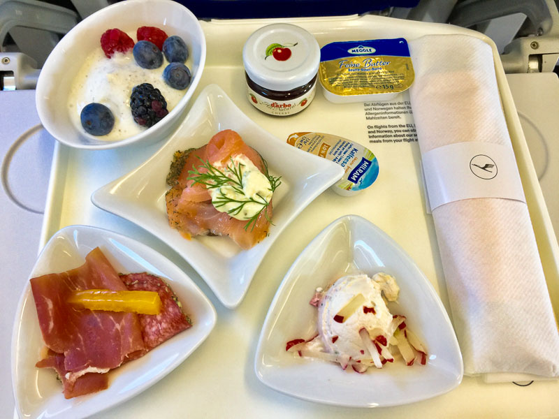 Lufthansa's first class breakfast course