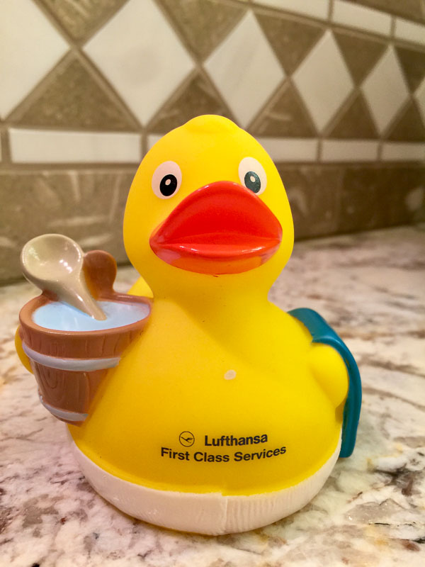 The yellow, rubber duck given to Lufthansa's First Class Passengers at their First Class Terminal/Lounge in Frankfurt, Germany